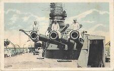 WWI White Border Navy PC- Battleship- Sailors Sit on Big Guns- 1915-1930