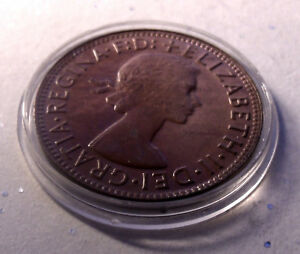 Uncirculated CHOICE Red Gem 1963 Australia Penny Superbly Toned Holder included