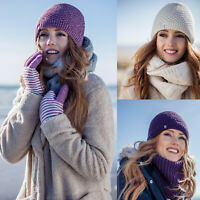 Heat Holders - Ladies Crochet Knit Style Fleece Lined Thermal Winter Beanie Hat