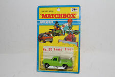 MATCHBOX SUPERFAST #50 FORD KENNEL TRUCK, LIME GREEN, THICK WHEELS, NEW IN PACK