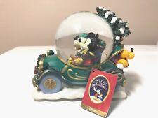 Disney Store Mickey Minnie Mouse Christmas Tree Car Pluto Snow Globe Music Box