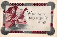 """Cobb Shinn~Girl on Pillows~""""What Excuse Have You Got for Living?""""~1913 Postcard"""