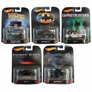 Hot Wheels Retro Entertainment Set of 5 Cars Batman Ghostbusters Delorean NEW