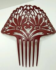 "STUNNING ANTIQUE VICTORIAN BAKELITE HAIR COMB ORNATE AND LARGE 8""  DEEP DK RED"