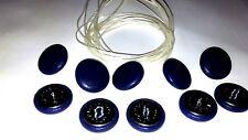 Botones De Tapicería. bucle Cable + longitud de hilo 10 X NO30 Azul Vinilo/Imitación Eco