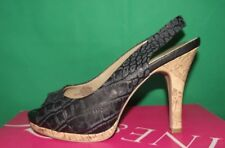 NINE & Company Womens 7 'Jjettica'  Black Leather High Heel Snake Pumps Peeptoes