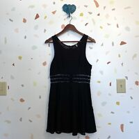 Free People SZ 12 Black Daisy Floral Cutout Black Tank Fit & Flare Mini Dress