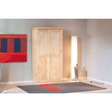 Armoire penderie dressing rangement chambre vintage 2 portes bois PIN massif