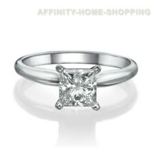 Princess Cut Solitaire Engagement Wedding Ring 1Carat Solid 14K Real White Gold