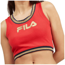 544ae396e18 FILA Crop Top XL Streetwear Bonita Gym Tank Logo Retro Red Gold Black Za152