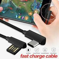 Braided 90° Degree Right Angle Type C/Micro USB C Fast Data Sync Charger Cable