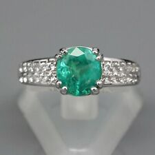 1.36 Carat Natural Green Emerald Ring With White Topaz in 925 Silver