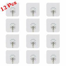12 PCS Adhesive Hook Holder Transparent Seamless Kitchen Bathroom Stick on Wall