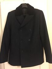 Theory men dark blue wool coat with black shearling collar size small