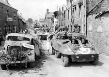 WWII B&W Photo M8 Greyhound Armored Cars  Enter French Village   WW2 / 3013