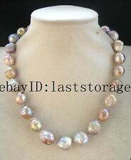 "freshwater pearl reborn keshi multicolor baroque  necklace 18"" nature wholesale"