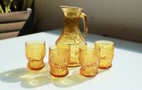 Vintage Italian Amber Glass Bormioli Rocco Brutalist Pitcher Jug & Four Glasses