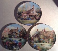 4 Marty Bell Collector Plates English Country Cottages Hamilton 8.5 inches