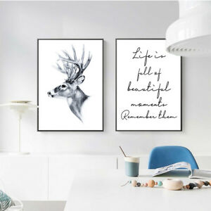 Deer Head Canvas Poster Life Quote Print Wall Painting Nordic Art Decor