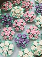 24 Edible Sugar Flowers Bouquet Cupcake Toppers Decoration Mothers Day Gift Cake