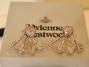 Vivienne Westwood rose gold tone Agatha Crystal Pave Love Earrings New with Box
