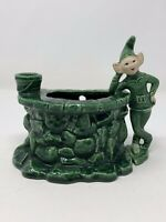 Vintage MCM Treasure Craft Pixie Elf Green Wishing Well Planter