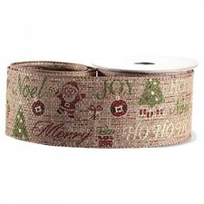 Luxury Natural Merry Christmas Fabric Wired Hessian Ribbon - 1m length