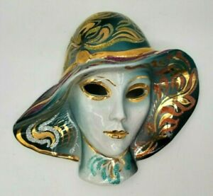 Vtg Lady in Teal Hat San Gimignano Italy Ceramic Mask Gilding Wall Decor Signed
