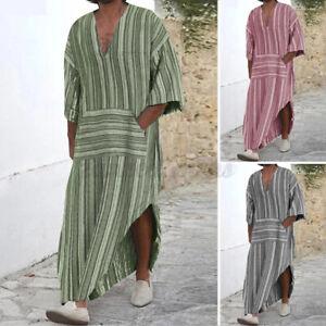 US STOCK Mens Long Sleeve Saudi Jubba Islamic Kaftan Egypt Desert Dress Robe Top