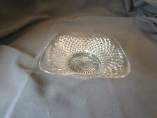 """DEPRESSION WESTMORELAND """"ENGLISH HOBNAIL"""" CLEAR FOOTED SQUARE 4 3/8"""" NUT BOWL"""