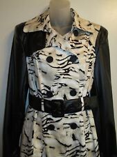 bebe M Trench Coat Jacket Black  Creme Animal Print Faux Leather Outdoor CHIC