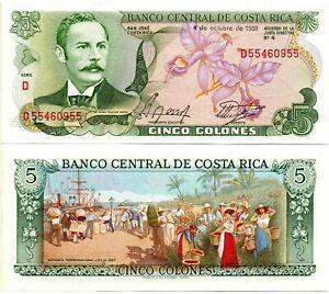 COSTA RICA 5 Colones (04.10.1989) Pick 236d, UNC *RARE*