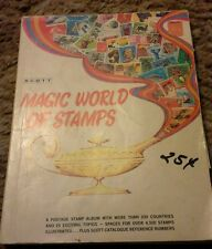 SCOTT MAGIC WORLD OF STAMPS POSTAGE STAMP ALBUM 1974 has many stamps. Stamp lot