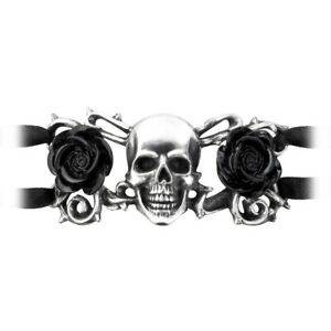Alchemy of England Gothic Skull and Briar Black Roses Punk Jewelry Bracelet A96