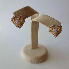 "18k. Two Tone Gold & Diamond ""Heart"" Earrings- Approx. 1.20 cts."