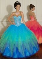 Jeweled Strapless A-Line Evening/Prom dress/Quinceanera/Ballgown/SZ 6 8 10 12 14