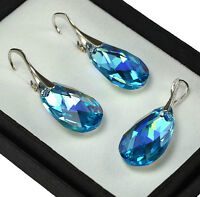 925 Silver Earrings/Set made with Swarovski Crystals22mm PEAR - Aquamarine AB
