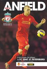 LIVERPOOL v ZENIT ST PETERSBURG 2012/13 EUROPA LEAGUE MINT PROGRAMME
