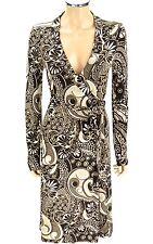 T TAHARI True Wrap Dress SIZE X-SMALL XS Mocha Toffee Swirls Floral Print Career