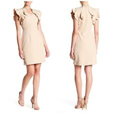 Sharagano Women's Size 10P Natural Ruffle Trim Career Dress In Nude Beige