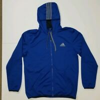 Adidas Hooded Jacket L Mens EUC Lightweight Full Zip 3 Stripes Tricot Mesh