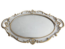 Decorative Mirror Tray For Perfume Organizer Jewelry Dresser and Display White
