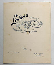 1950's Original Full Size Dinner Menu Linko's Restaurant Colton California
