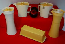 Tupperware ALMOND & GOLD Condiments ~VO Cruets ~1 stick Butter ~Creamer Sugar