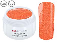 UV LED Effekt Gel GOLD GLITTER BLOOD ORANGE Glitzer Farbgel Color Nail Modellage
