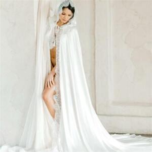 Silk Satin White Ivory Wedding Cape Bridal Shawl Cathedral Length Applique Cloak