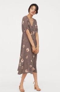 H & M Vintage Style Floral Buttoned Tea Dress UK 6 Brown Neutral Floral Midi