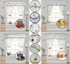 Kitchen Window Curtain Set Machine Embroidered Rod Pocket Valance Tiebacks
