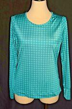 Women's Lands End Size M Geometric Blue Athletic Cover Up Workout Top  Shirt L/S