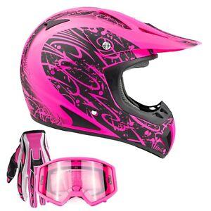 Matte Pink Adult Motocross Helmet Combo Gloves Goggles DOT Off-road Dirt Bike MX